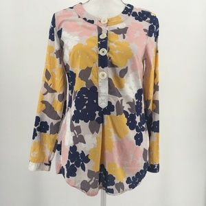 Boden Top Long Sleeve Floral Popover Button Front